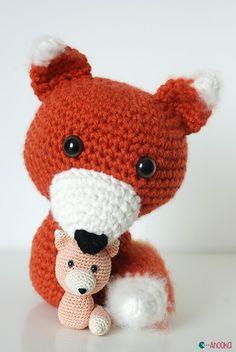 crochet fox by ahooka