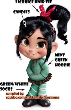 Wreck it Ralph Costumes - Vanellope Von Schweetz - Don't forget peanut butter cup skirt!