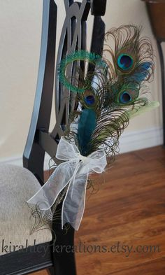 pew bows for wedding ceremony | PEACOCK PEW BOWS -- Ceremony Aisle Decoration, ... | My Wedding Plans!