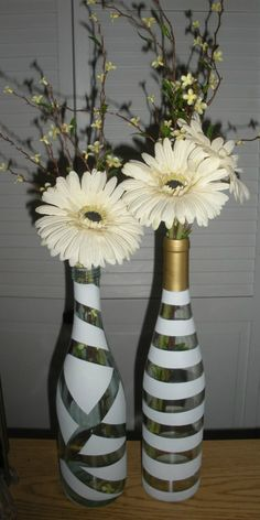 Painted wine bottles.