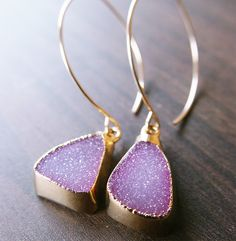 Lavender Pink Drusy 14k Gold Earrings