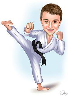 The boy loves Tae Kwon Doe and loves to break boards during Tae Kwon Do. He wears a white Tae Kwon Do outfit with a black belt. Cartoon Logo, Cartoon Man, Cartoon Design, Boy Cartoon Characters, Navy Socks, Birthday Cartoon, Caricature Artist, Taekwondo, Black Belt