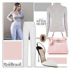 """""""Grey Palette with Ricki Brazil..."""" by nfabjoy ❤ liked on Polyvore featuring Jimmy Choo, Warehouse, DKNY, Hermès, Mark Broumand and StreetStyle"""