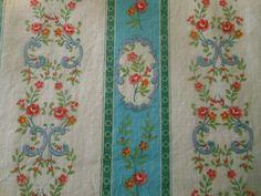 Antique French Cottage Floral Stripe Cotton Fabric~Turquoise Aqua Coral Blue