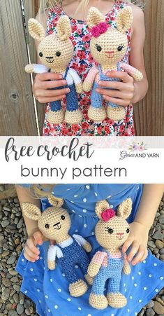 Quick and easy free crochet bunny pattern! Make your own sweet little bunny with step by step instructions, photos and video tutorials! Crochet Bunny Pattern, Crochet Amigurumi Free Patterns, Crochet Animal Patterns, Stuffed Animal Patterns, Crochet Animals, Crochet Dolls, Stuffed Animals, Easter Crochet, Cute Crochet