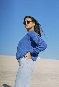 Danielle in denim & knits at Venice Beach.