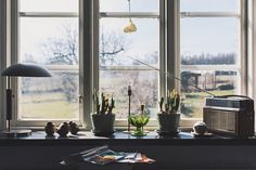 Easter Ready At home for easter Window View Interior Decorating Design Retro Vintage Radio Lamp Window Looking Out Of The Window Books Interior Style