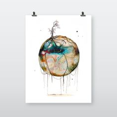 Ny Verden #40 (New World #40) by Joanna Jensen | available on artworkheroes.com as #highquality #artprint you are who you art! #charity #artwork #canvas #poster #artdeco #homeinterior #design #graphic #Scandinavia #earth #circle Canvas Poster, Charity, Dream Catcher, Art Deco, Earth, Watercolor, Art Prints, Bedroom, World