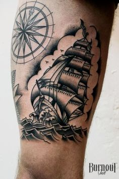 Traditional Ship Tattoo by Burnout Ink