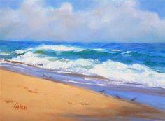 "Daily+Paintworks+-+""The+Little+Birds,+8x6+Seascape+Painting,+Original+Oil+on+Canvas""+-+Original+Fine+Art+for+Sale+-+©+Carmen+Beecher"
