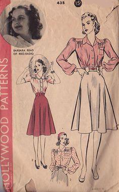 Hollywood 435; ca. 1940; Featuring Barbara Read of RKO Radio. Blouse and Skirt.