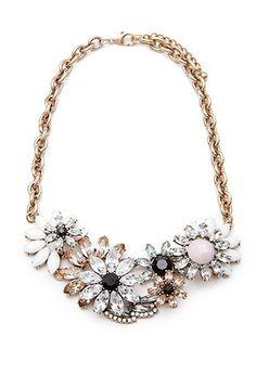 Faux Gem Floral Statement Necklace | Forever 21 - 1000098957