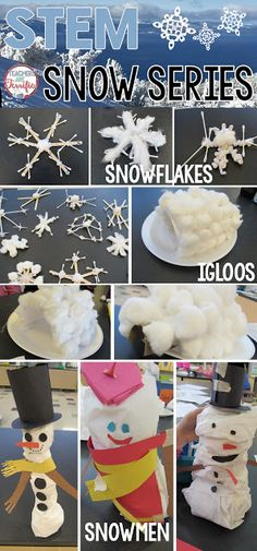 STEM Challenges: Here's a set of three challenges that all involve snow! Students learn about snowflake formation, talk about building, and then design snowflakes, snowmen, and igloos!