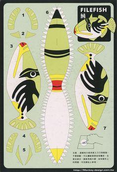 Trigger fish - Cut Out Postcard Fish Cut Outs, Paper Fish, 3d Paper Art, Printable Crafts, Printables, Paper Mache Crafts, Jar Art, Under The Sea Party, 3d Prints