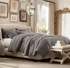 beige & gray Bedroom with Chandelier - Full Length Mirror - Padded Bed - Elegant Wall Accent Arrangement - Stonewashed Belgian Linen Bedding Collection Style At Home, Home Bedroom, Bedroom Decor, Master Bedroom, Bedroom Ideas, Gray Bedroom, Bedroom Inspiration, Restoration Hardware Bedroom, House Essentials