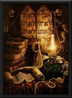 Painted torah plates - In this oil painting you can get a feeling for a religous jewish atmosphere, thanks to the beautifully looking old books, old lamp and some religious scrolls.