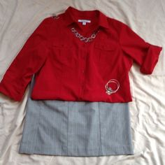 """Red dress blouse Red polyester blend blouse perfect for work. Sleeves can be long or rolled up for 3/4 length. Machine wash cold. Sleeve length 19 1/4""""; about 11"""" rolled up with tab. Croft & Barrow Tops Blouses"""