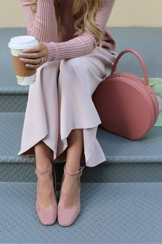 Sweater: Rebecca Taylor  ( also love this peplum sweater ). Pants: Milly  ( similar here for $100  and here ). Shoes: V...