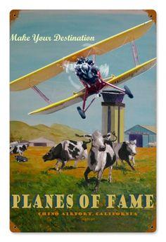 Vintage Planes of Fame Metal Sign
