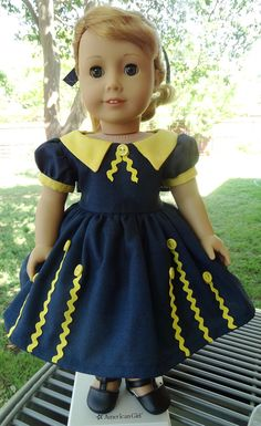 1950's buttons & rick-rack Dress for AG Maryellen by Designed4Dolls $24.95