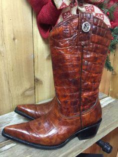 Rogers Brown Red Ladies Crocodile Gator Cowgirl Cowboy Rodeo Boots 7 #Rogers #CowboyWestern