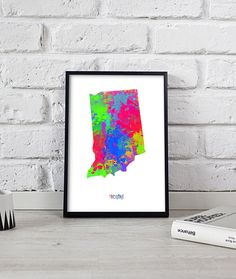 Indiana poster Indiana print Indiana art Watercolor US State