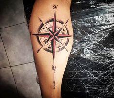 Compass Tattoo by Kafka Tattoo - Perfect black and red tattoo graphics . - Compass Tattoo by Kafka Tattoo – Perfect black and red tattoo graphics of the compass motif are m - Compass Tattoos Arm, Compass Tattoo Design, Arrow Tattoos, Forearm Tattoos, Tattoo Arm, Red Tattoos, Body Art Tattoos, Tattoos For Guys, Tattoo Sleeve Designs