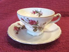 Mauve Rose Tea Cup and Saucer Marked Made in by VintageGlassEscape