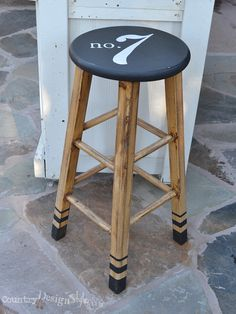 My lucky number on a workshop stool.  Plus I updated the dip legs styling a little.  http://countrydesignstyle.com