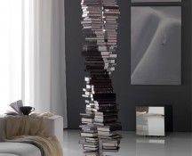 DNA Bookcase is a tall bookcase that arranges the books in a double helix form reminiscent of DNA. The bookcase was designed by Reverso for Italian furniture company, Cattelan Italia. via The Khool… Dna Design, Bibliotheque Design, Creative Bookshelves, Regal Design, Original Design, Double Helix, Italian Furniture, House Design, Crates