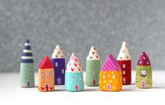 Little clay home peach house with hearts border and by rodica