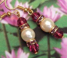 Rubellite and Pearl Wedding Earrings