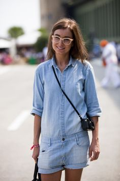 Pale blue loose fitting shirt/short onesie. Love the wash. Like as a separates idea