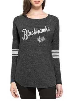 '47 Chicago Blackhawks Womens Neps Black LS Tee