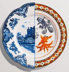 The Hybrid Collection from the Italian company Seletti is a series of plates, bowls, mugs and cups and saucers designed by CTRLZAK that show the juxtaposition of Eastern and Western porcelain in one piece. Each piece features two styles with a colored dividing line down the center.