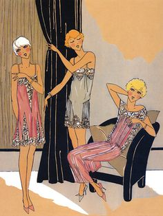 Vintage Lingerie Fashion Illustration 1920s Art Deco Poster