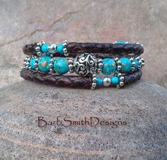 Leather Memory Wire 3-Wrap Turquoise Aqua by BarbSmithDesigns