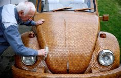 A Bosnian man created this wooden Volkswagen Beetle car from over 50,000 separate pieces of oak. The project took nearly two years to complete.