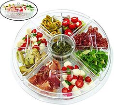 Jumbl Appetizer Serving Tray with Lids , 4 Revolving Duel Cups-on-Ice Tapas, Veggie Tray, Party Snacks, Pool Snacks, Yummy Appetizers, Serving Platters, Safe Food, Food Bars, Broncos Vs