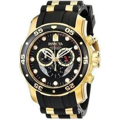 off - Invicta Men's 6981 Pro Diver Black Dress Watch - The super cool, black and gold Invicta Men's Pro Diver Collection Chronograph Black Dial Black Polyurethane Watch is a high-performance sports watch for the modern man. Men's Watches, Sport Watches, Luxury Watches, Cool Watches, Watches For Men, Black Watches, Unique Watches, Dress Watches, Affordable Watches