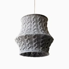 Cable Knit Lampshade BUUGO XL / Pendant Light  / Unique Knitted Home Decor  / Hanging Shade - Light Gray