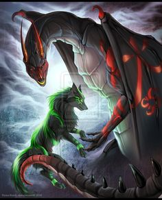 dragon love | Dragon and Wolf: commission by chaoslavawolf