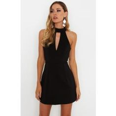 "<p><strong style=""font-family: arial, helvetica, sans-serif; font-size: small;"">Description</strong><br /><span style=""font-family: arial, helvetica, sans-serif; font-size: small;"">- High Neck Mini Dress</span><br /><span style=""font-family: arial, helvetica, sans-serif; font-size: small;"">- Button Closure at Back of Neck</span><br /><span style=""..."
