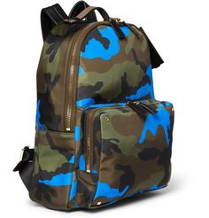 Valentino - Camouflage-Print Leather and Canvas Backpack|MR PORTER