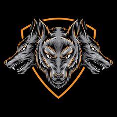 Logotipo do vetor Cerberus Vetor Premium Free Badges, Myths & Monsters, Ancient Myths, Ancient History, Wolf Artwork, Team Logo Design, Eagle Logo, Cerberus, Free Cartoons