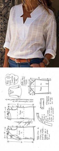 Sewing Blusas Blusa com decote V e gola invertida - DIY - molde, corte e costura - Marlene Mukai // Taika - Blusa com decote V e gola invertida - DIY - molde, corte e costura - Marlene Mukai Blouse Patterns, Clothing Patterns, Blouse Designs, Skirt Patterns, Coat Patterns, Pattern Of Blouse, Clothing Ideas, Sewing Dress, Diy Dress