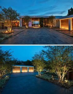 Modern House Design & Architecture : Upon arriving at this modern house you are greeted by uplighting that highlight