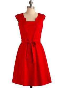 Ignite the Night Dress - Red, Solid, Pleats, Party, A-line, Cap Sleeves, Vintage Inspired, Rockabilly, Pinup, Mid-length, Press Placement, Belted, Cocktail, Holiday Party, Cotton, Best Seller, Fit & Flare