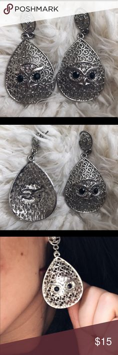 Owl Silver Earrings with Black Rhinestone Big Owl Silver earrings with black rhinestone eyes in great condition. Sterilized for you use. Would look good with black clothing! Jewelry Earrings