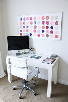 Easy wall art--  paint circles with your favorite colors on a blank canvas/paper